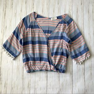 Anthro Lavender Field Striped Surplice Boho Top